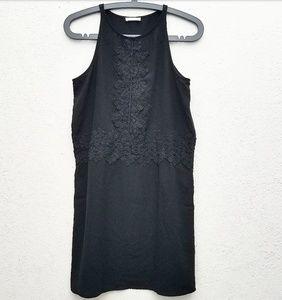 Leith Black Racerback Shift Dress W/Crochet Detail